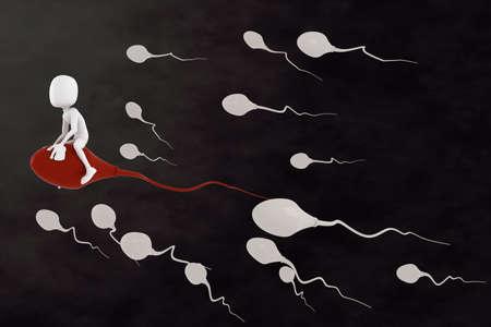 3d hombre montado en un espermatozoide