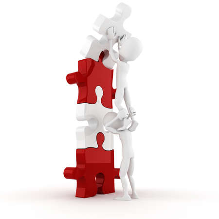 work piece: 3d man pushing a puzzle piece into its place Stock Photo