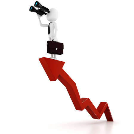 business graph: 3d man business man holding a binocular searching for opportunities