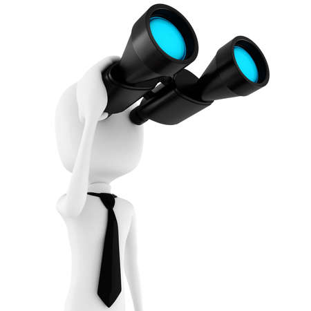 3d man business man holding a binocular searching for opportunities  photo