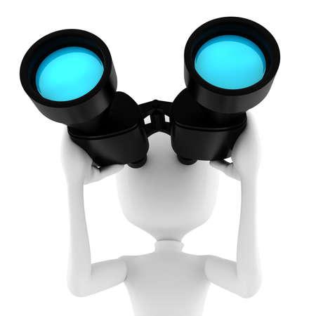 binoculars: 3d man business man holding a binocular searching for opportunities