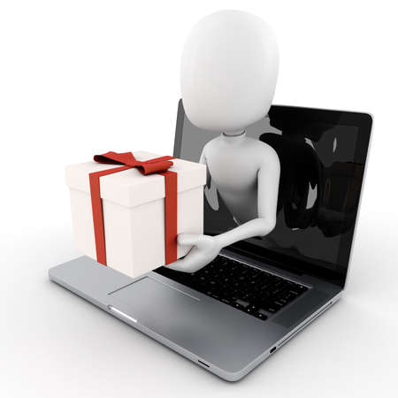 popping: 3d man holding a present box popping out from a laptop screen Stock Photo