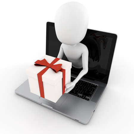 popping out: 3d man holding a present box popping out from a laptop screen Stock Photo