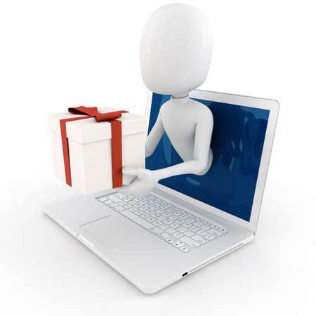 anniversary sale: 3d man holding a present box popping out from a laptop screen Stock Photo