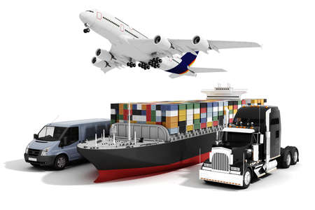 airplane cargo: 3d global business commerce concept