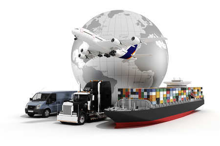 shipping supplies: 3d global business commerce concept