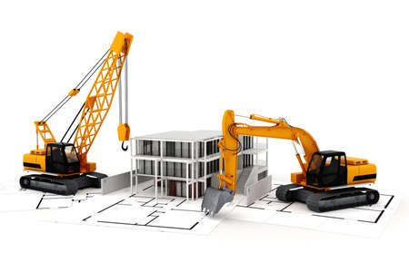 construction crane: 3d render of construction concept, on white Stock Photo