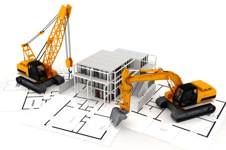 3d render of construction concept, on white Stock Photo - 10475473