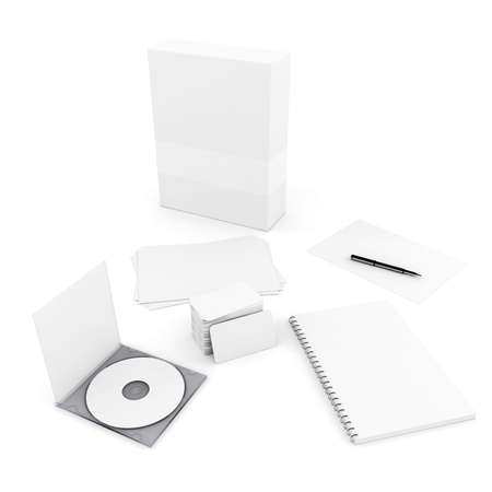 office presentation: 3d stationery blank documents, on white background
