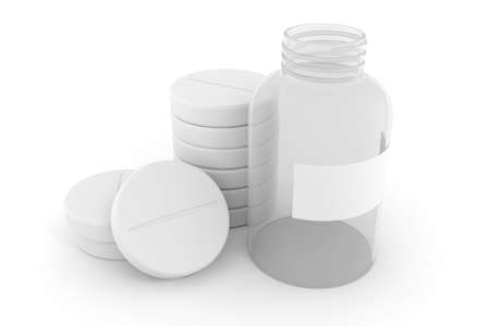 3d pills ons white background photo