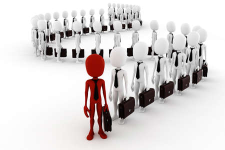 casual business meeting: 3d man business men following the leader Stock Photo