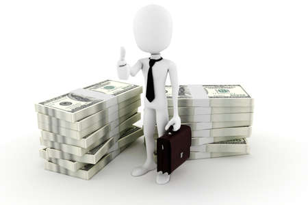baclground: 3d man business man and a lot of monney; on white baclground Stock Photo