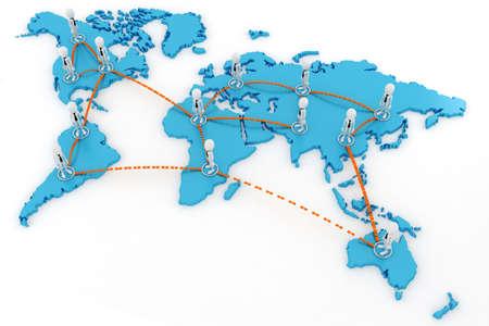 network marketing: 3d concepto de hombre de negocios globales