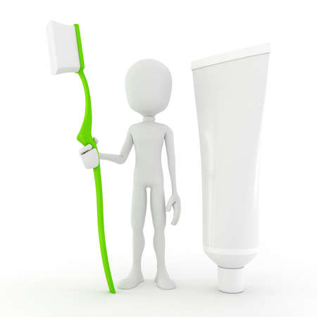 3d man holding a tooth brush photo