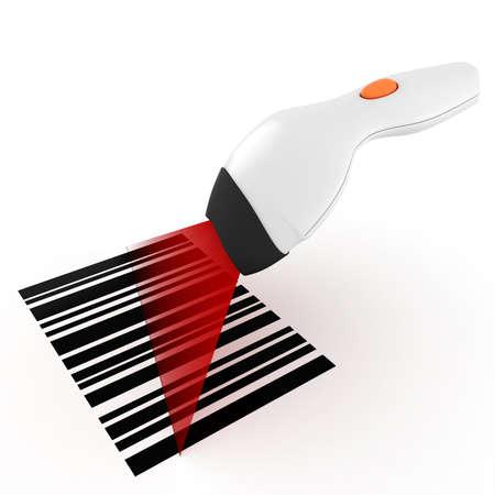barcode scan: 3d esc�ner de c�digo de barras, en el fondo blanco Foto de archivo