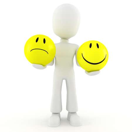 caras tristes: 3d hombre la celebración de dos smileys Foto de archivo