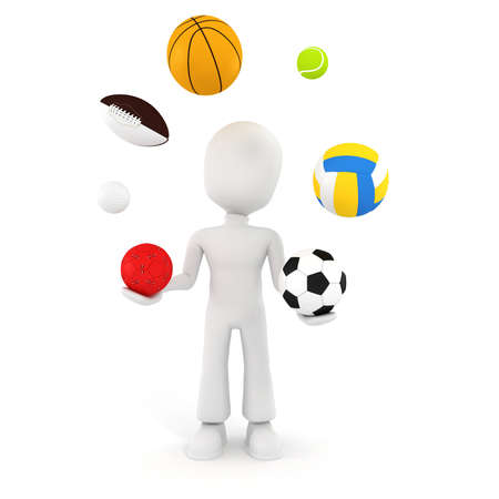 3d man playing with different sport balls photo