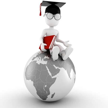 degree: Man studente 3d