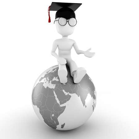3d man student photo