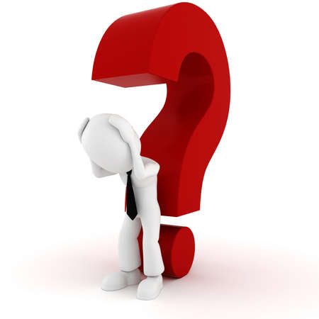3d man and a big red question mark Stock Photo - 10860771