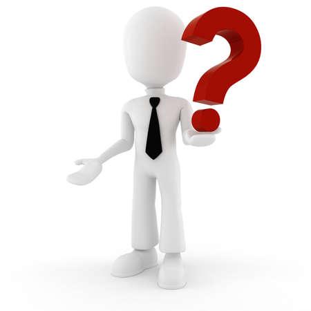 answer question: Uomo, 3d e un grande punto interrogativo rosso