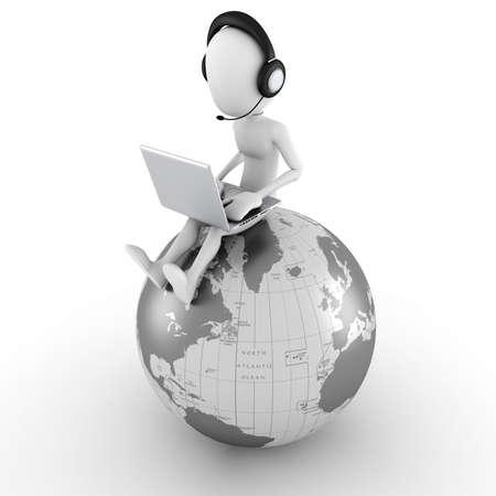 3d man online call center Stock Photo - 10965143