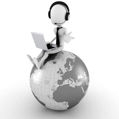 3d man online call center  Stock Photo - 10965154