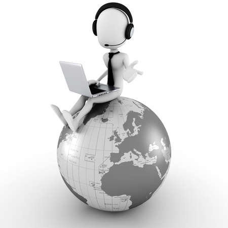 3d man online call center Stock Photo - 10965154