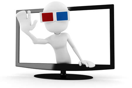 popping out: 3d man with 3d glasses popping out form a tv Stock Photo