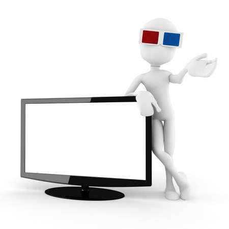 isoleted: 3d man with 3d glasses presenting a new tv, isoleted on white