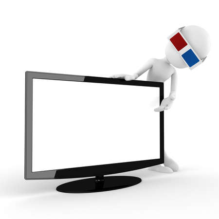 3d man with 3d glasses presenting a new tv, isoleted on white photo
