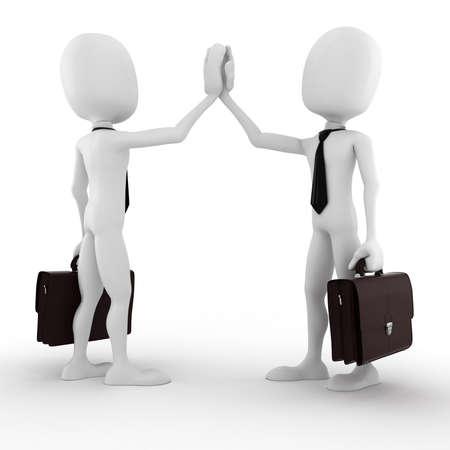 contrato de trabajo: 3d hombre hombre de negocios de cerrar un trato