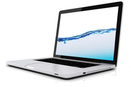 3d laptop isolated on white background photo