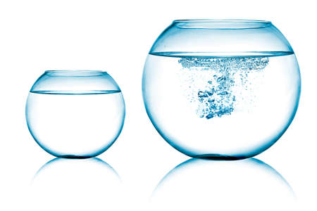 close up view of  two fish bowls on white background Stock Photo - 11015709