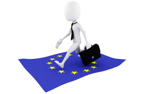 3d man EU flag business concept  Stock Photo - 11150048
