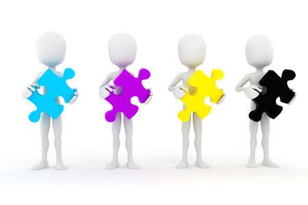 descriptive colours: 3d man holding colorful CMYK puzzle pieces, on white background