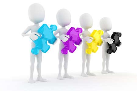 descriptive color: 3d man holding colorful CMYK puzzle pieces, on white background