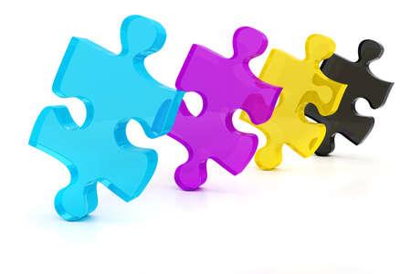 colorul: 3d colorul CMYK puzzle pieces on white background