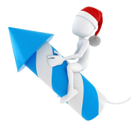 3d man and a rocket - Christmas concept on white background  photo