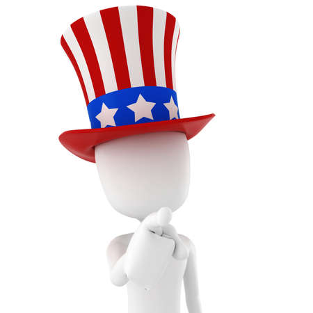 president of usa: 3d man - independence day, on white background