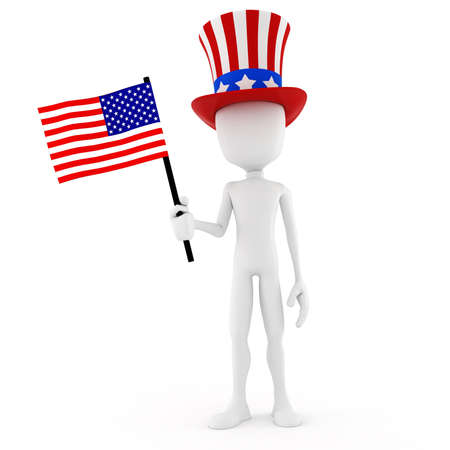 3d man - independence day, on white background Stock Photo - 11275576