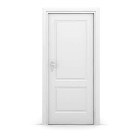 3d blanco puerta en el fondo blanco Foto de archivo