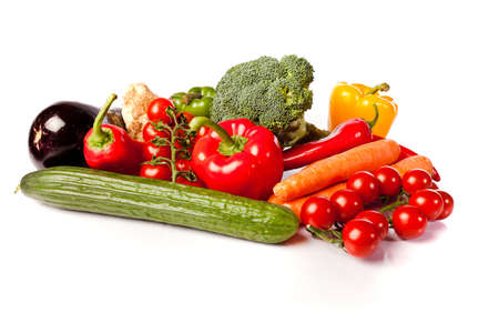 fresh healthy vegetables on white background Stock Photo - 11350503