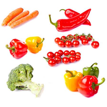 fresh healthy vegetables on white background photo