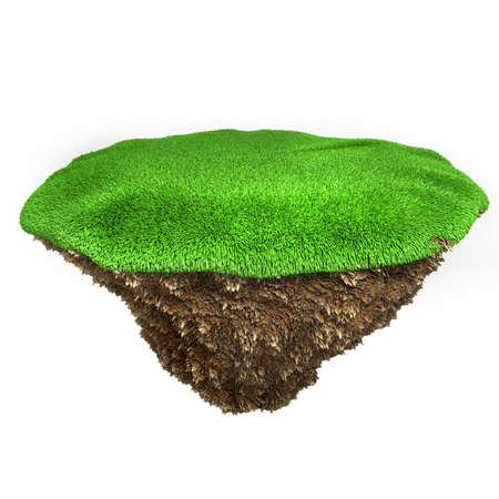3d little piece of land with fresh green grass on white background photo