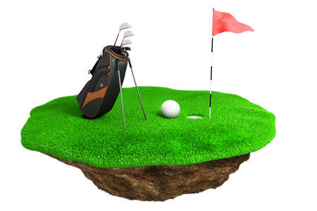 3d golf field on green grass island photo