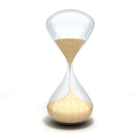 3d hourglass sandglass on white background photo