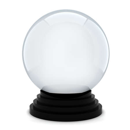 3d empty crystal ball on white background photo