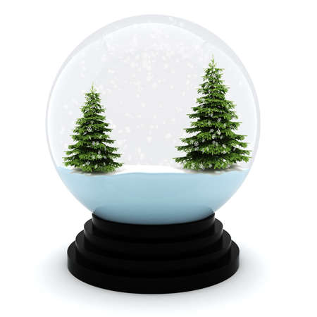 3d Chrystmas dome, on white background photo