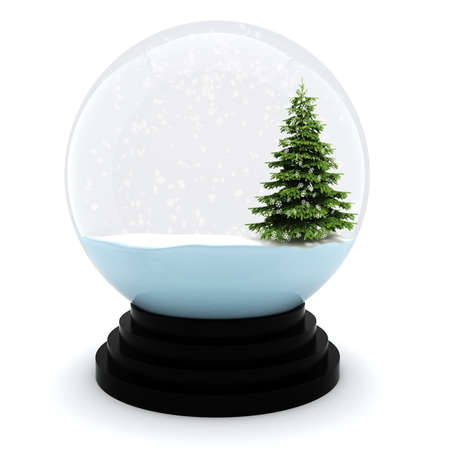 snow tree: 3d Chrystmas dome, on white background Stock Photo